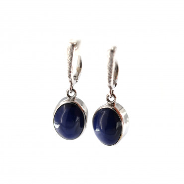 White gold synthetic sapphire earrings BBBR02-03-03
