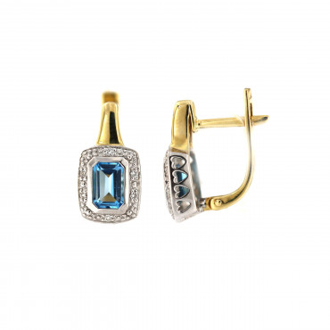 Yellow gold earrings with topaz and diamonds BGBR04-05-02
