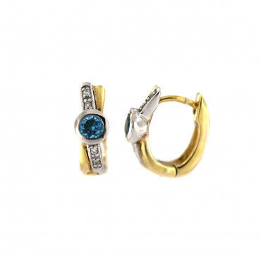 Yellow gold earrings with topaz and diamonds BGBR04-05-01