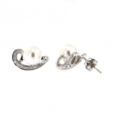 White gold pearl earrings BBBR03-01-06