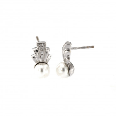 White gold pearl earrings BBBR03-01-08