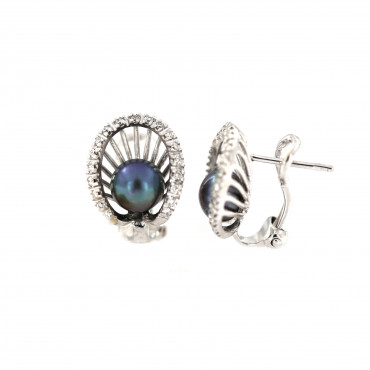 White gold pearl earrings BBBR03-02-02