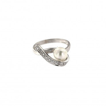 White gold pearl ring DBP02-01