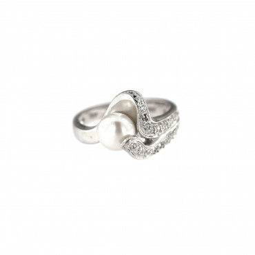 White gold pearl ring DBP02-02