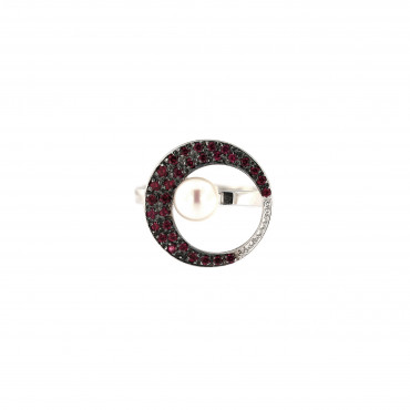 White gold pearl ring DBP04-01