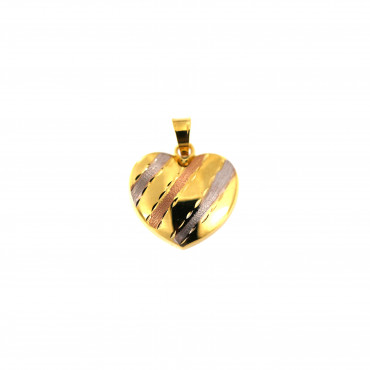 Yellow gold heart pendant AGS01-43