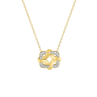 Gold plated brass zirconia pendant necklace GLG12038.10