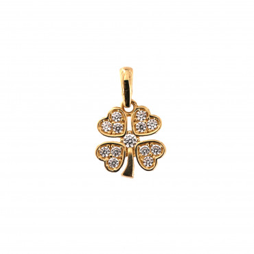 Yellow gold four-leaf clover pendant AGF01-06