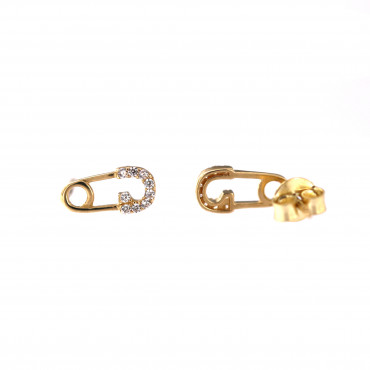 Yellow gold safety-pin stud earrings BGV07-22-01