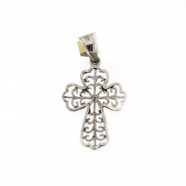 White gold cross pendant ABK04-01