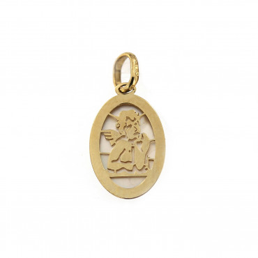 Yellow gold angel pendant AGA02-04