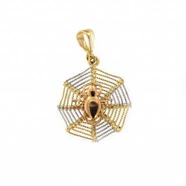 Yellow gold spiderweb pendant AGG07-01