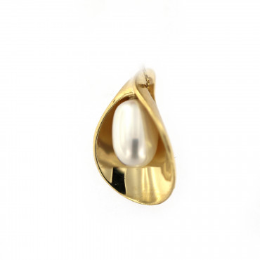Yellow gold pearl pendant AGPRL02-01