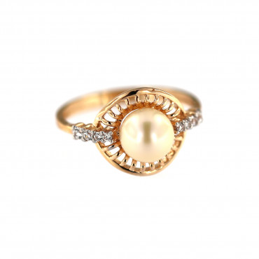 Rose gold pearl ring DRP03-02