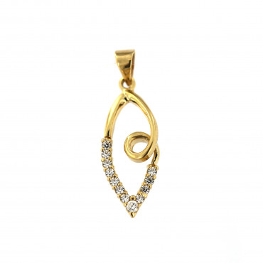 Yellow gold zirconia pendant AGBL04-05