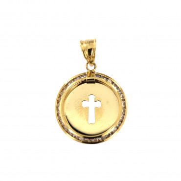 Yellow gold cross pendant AGK04-03