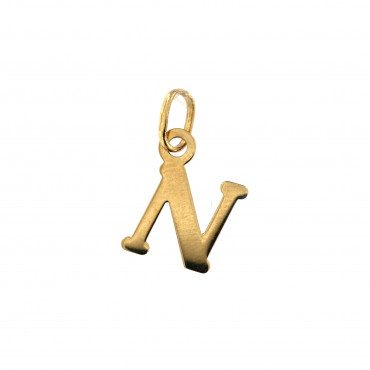 Yellow gold initial letter pendant AGR-N-01