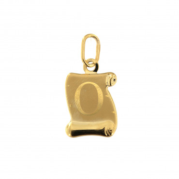 Yellow gold initial letter pendant AGR-O-01