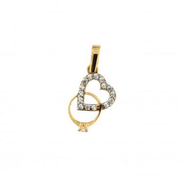 Yellow gold heart pendant AGS02-10