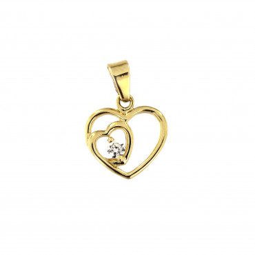 Yellow gold heart pendant AGS02-11