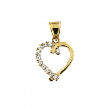 Yellow gold heart pendant AGS02-12