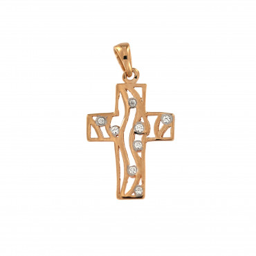 Rose gold zirconia cross pendant ARK04-03