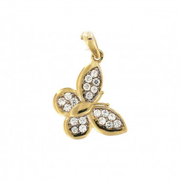 Yellow gold butterfly pendant AGD02-01