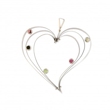 White gold heart pendant ABS01-01