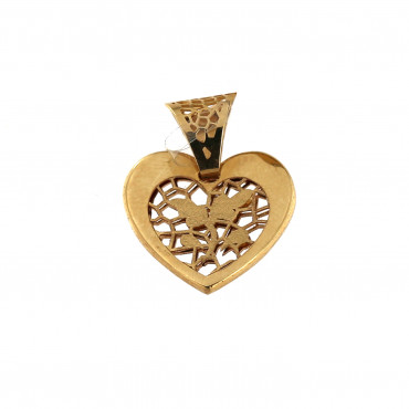 Yellow gold heart pendant AGS01-13