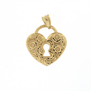 Yellow gold heart pendant AGS01-19