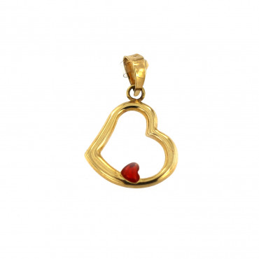 Yellow gold heart pendant AGS02-01