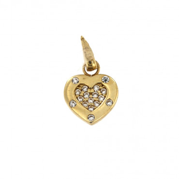 Yellow gold heart pendant AGS02-06