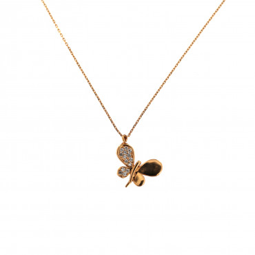 Rose gold butterfly pendant necklace CPR13-02
