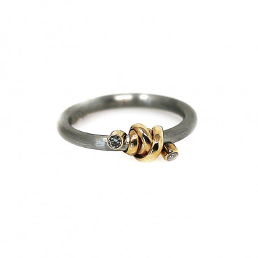 Stainless steel ring with gold ART-R17
