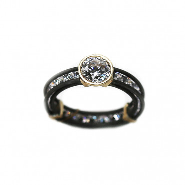 Stainless steel ring with gold ART-R70