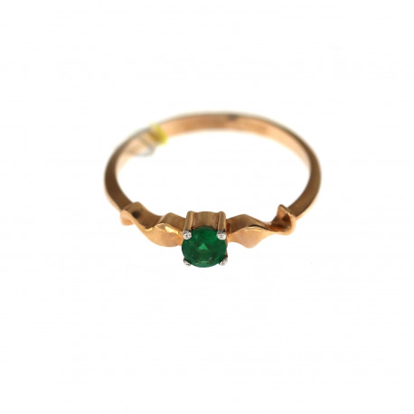 Rose gold ring with emerald DRBR33