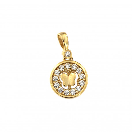 Yellow gold butterfly pendant AGD04-01