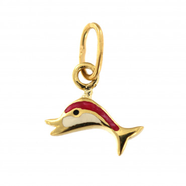 Yellow gold dolphin pendant AGG09-03