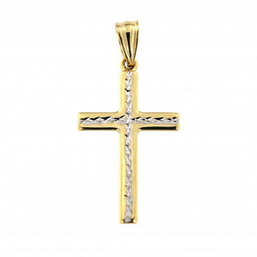 Yellow gold cross pendant AGK01-14