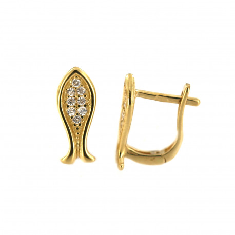 Yellow gold earrings with cz BGA03-01-05