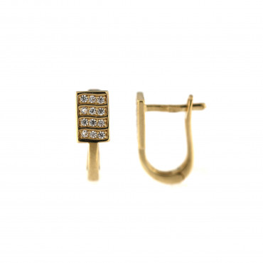 Yellow gold earrings with cz BGA03-05-02