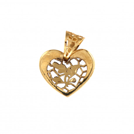 Yellow gold heart pendant AGS01-32