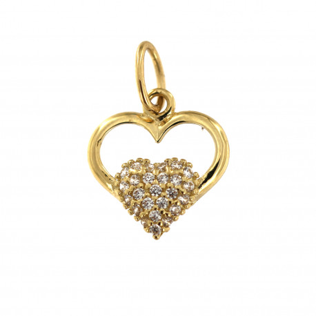 Yellow gold heart pendant AGS02-04-1