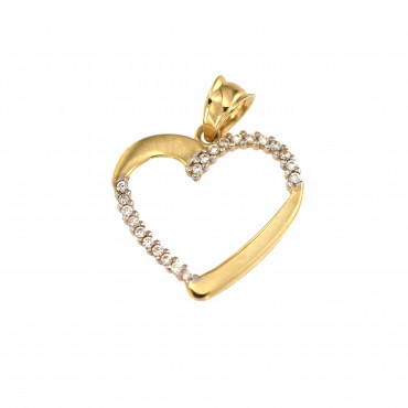 Yellow gold heart pendant AGS02-14