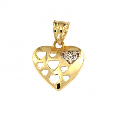 Yellow gold heart pendant AGS02-15