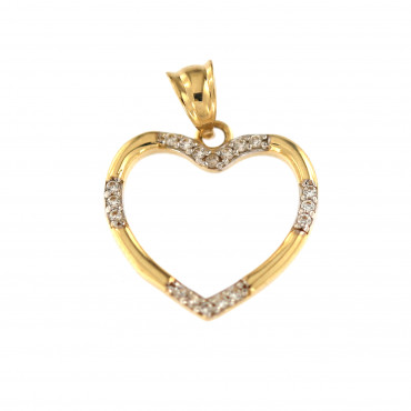 Yellow gold heart pendant AGS02-16
