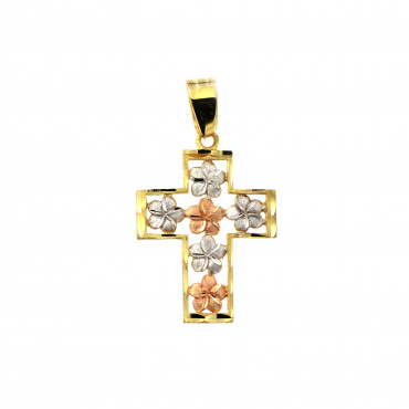 Yellow gold cross pendant AGK05-07
