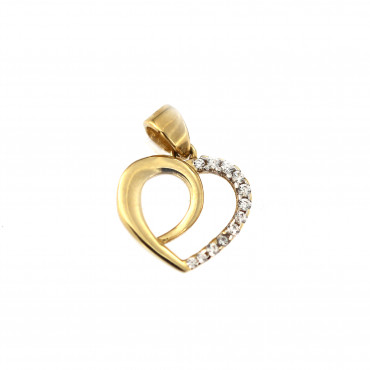 Yellow gold heart pendant AGS02-17
