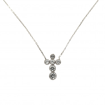 White gold cross pendant necklace CPB05-01