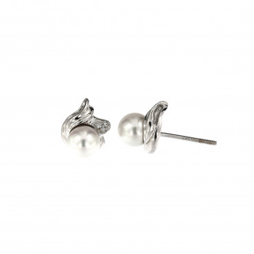 White gold pearl earrings BBBR03-01-01